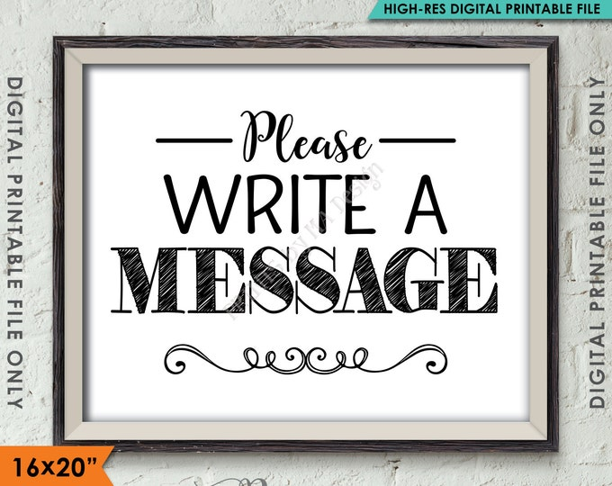"Please Write a Message Sign, Leave a Message, Share a Thought Party Sign, Party Decor, 8x10""/16x20"" Instant Download Digital Printable File"