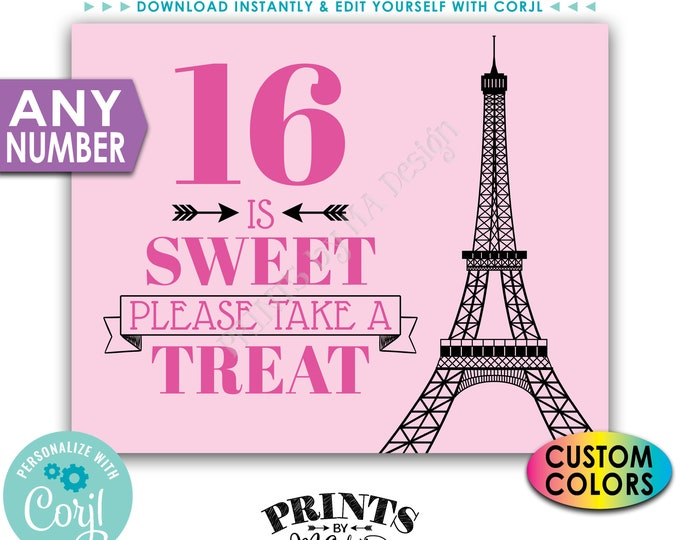 """Paris Sweet Treat Sign, Please Take a Treat, Any Number, Custom Colors, PRINTABLE 8x10/16x20"""" Eiffel Tower Sign <Edit Yourself with Corjl>"""