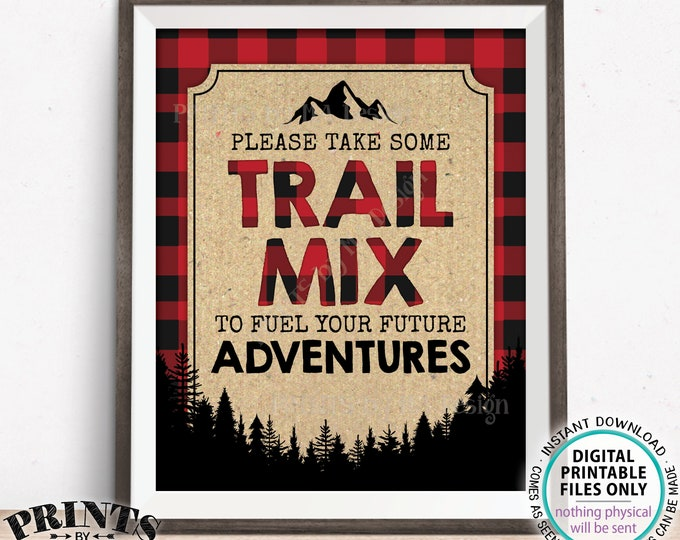 """Lumberjack Trail Mix Sign, Please take some Trail Mix to fuel your Future Adventures, Red Checker, PRINTABLE 8x10"""" Buffalo Plaid Sign <ID>"""