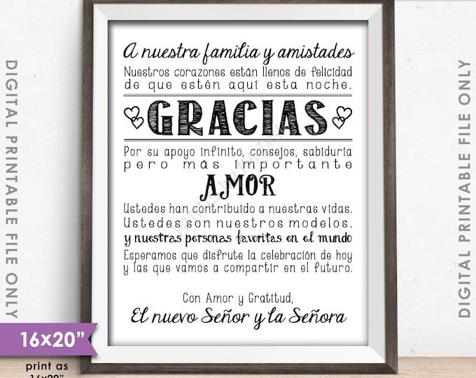 """Wedding Thank You Sign in SPANISH, El casarse le agradece ESPAÑOL, Gracias Cartel, Gracias Amigos, PRINTABLE 8x10/16x20"""" Instant Download"""