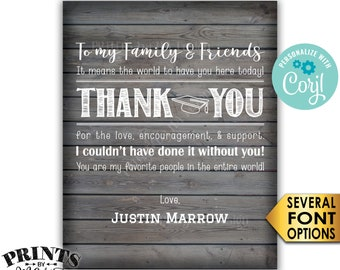Graduation Thank You Sign, Thanks from the Grad Poster, PRINTABLE Rustic Wood Style Graduation Party Decoration <Edit Yourself with Corjl>