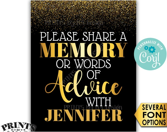 "Memory or Advice Sign, Please Share a Memory or Words of Advice Sign, PRINTABLE 8x10/16x20"" Gold Glitter Sign <Edit Yourself with Corjl>"