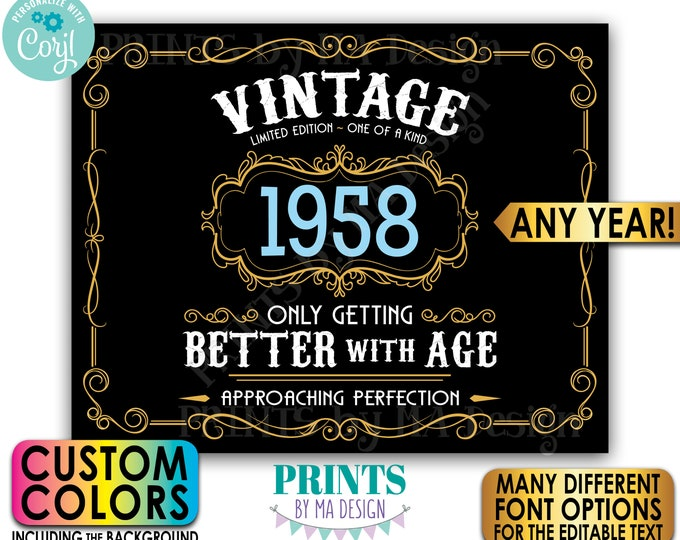"""Vintage Better with Age Liquor Themed Birthday Party, Custom Year & Colors, PRINTABLE 8x10/16x20"""" Landscape Sign <Edit Yourself w/Corjl>"""
