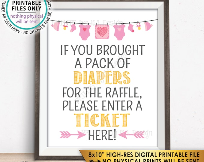 """Diaper Raffle Ticket Sign, Enter a Raffle Ticket Here Pink Baby Shower Raffle Ticket Sign, PRINTABLE 8x10"""" Instant Download Baby Shower Sign"""