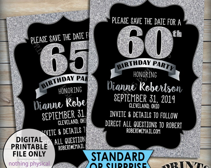"Birthday Party Save the Date, Silver Birthday, 30th 40th 50th 60th 70th Birthday STD, Black & Silver Glitter 5x7"" PRINTABLE Save the Date"