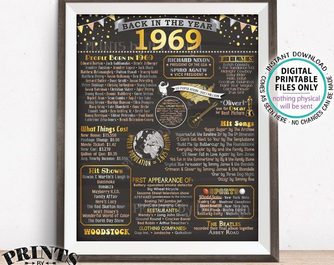 "Back in 1969 Poster, Flashback to 1969 USA History, Remember 1969 Birthday Anniversary Reunion, PRINTABLE 16x20"" Sign <ID>"