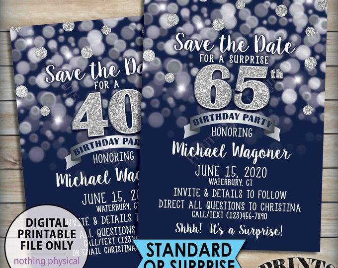 "Birthday Party Save the Date, Standard or Surprise Birthday STD, Navy Blue & Silver Glitter Design, 5x7"" PRINTABLE Birthday Save the Date"