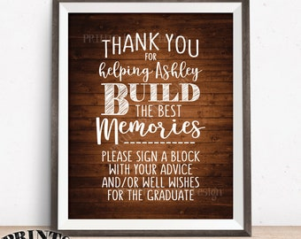 """Thanks for Helping Build Memories, Graduation Memories, Sign a Block, Graduation Party Decorations, PRINTABLE 8x10"""" Rustic Wood Style Sign"""