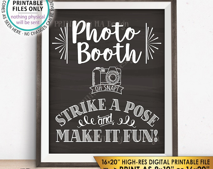 "Photobooth Sign, Strike a Pose & Make it Fun Photo Booth Selfie Wedding Sign, PRINTABLE 8x10/16x20"" Chalkboard Style Instant Download Sign"