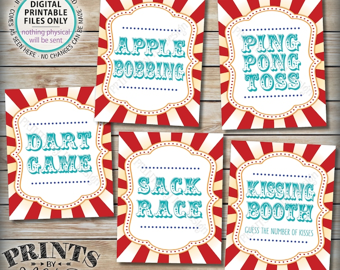 """Carnival Games Signs, Carnival Theme Party, Kissing Apple Bobbing Sack Race Darts, Teal, PRINTABLE 8x10/16x20"""" Circus Theme Party Signs <ID>"""
