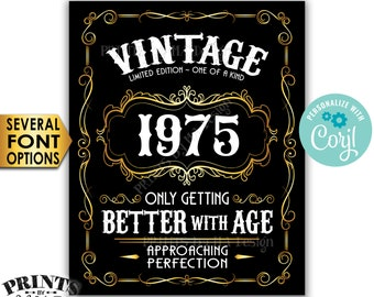 """Vintage Birthday Sign, Better with Age Liquor Themed Party, Custom Year, PRINTABLE 8x10/16x20"""" Black & Gold Sign <Edit Yourself with Corjl>"""
