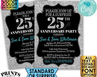 "Silver Glitter Anniversary Party Invitation, Surprise or Standard Invite, Custom PRINTABLE 5x7"" Digital File <Edit Yourself with Corjl>"