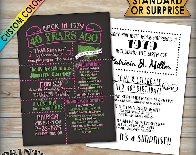 """40th Birthday Invitation, Back in 1979 Invite, Flashback 40 Years Ago to 1979 Invite, 40th B-day, PRITNABLE 5x7"""" 40th Bday Party Invitation"""