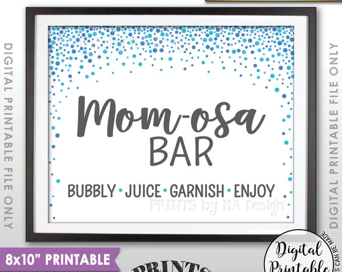 """Mom-osa Bar Sign, Momosa Bar Baby Shower Drinks, Baby Bubbly Sign, Blue Confetti Design Baby Shower Decor, 8x10"""" Printable Instant Download"""