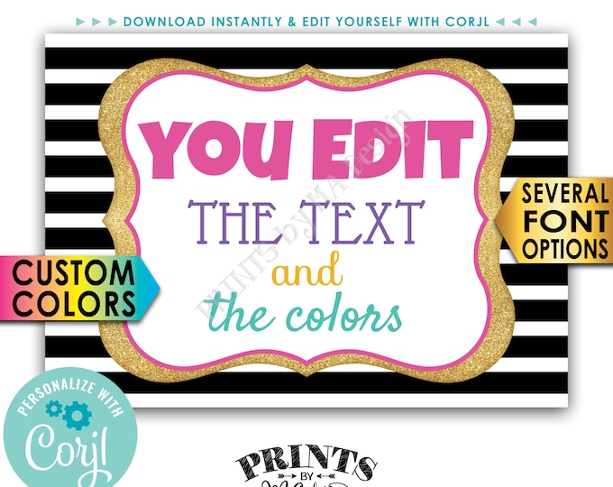 """Design a Custom Sign, Choose Your Text and Colors, Gold Glitter on Stripes, PRINTABLE 5x7"""" Landscape Sign <Edit Yourself with Corjl>"""