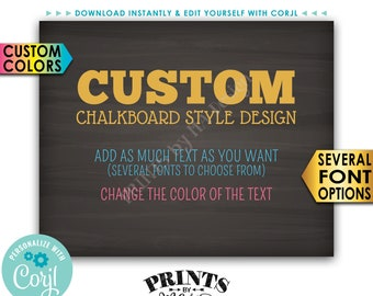 "Custom Chalkboard Style Sign, Choose Your Text & Change Colors, PRINTABLE 8x10"" Landscape Sign <Edit Yourself with Corjl>"