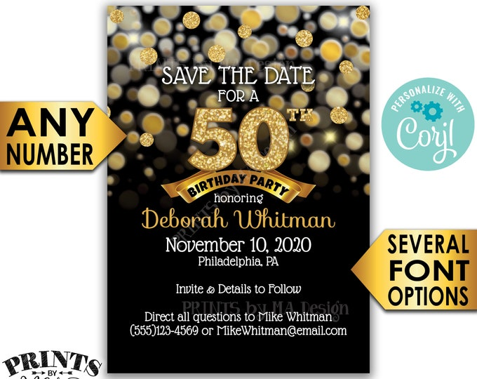 """Black & Gold Glitter Birthday Party Save the Date, PRINTABLE 5x7"""" Golden Bday Invite <Edit Yourself with Corjl>"""