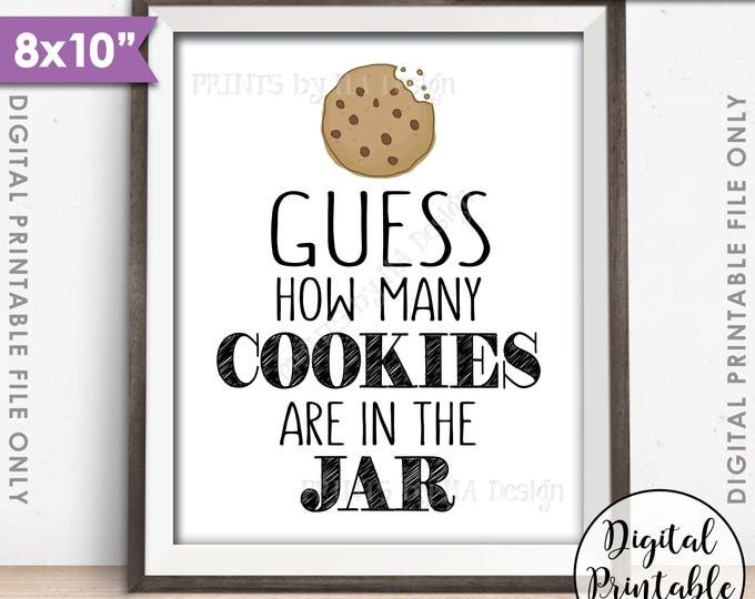 """Guess How Many Cookies are in the Jar Sign, Guess the Number of Cookies, Cookie Guessing Game, Birthday, 8x10"""" Printable Instant Download"""