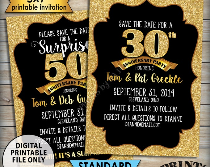 "Gold Anniversary Party Save the Date, Standard or Surprise Black & Gold Glitter PRINTABLE 5x7"" Invite, 30th 40th 50th 60th 70th Anniversary"