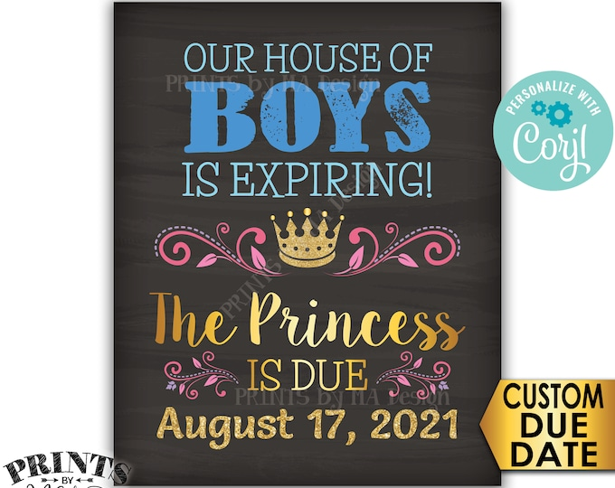 """It's a Girl Gender Reveal Pregnancy Announcement, Big Brothers to Princess is Due, PRINTABLE 8x10/16x20"""" Sign <Edit Yourself with Corjl>"""