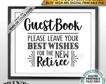 """Retirement Party Guestbook Sign, Leave Best Wishes for the new Reitree Sign, PRINTABLE 8x10"""" Instant Download Guest Book Retirement Decor"""