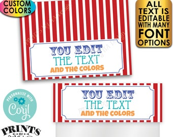 """Carnival Goodie Bag Toppers, Any Text/Colors, Birthday Party Favor, Custom PRINTABLE 5x7"""" Labels for Plastic Bags <Edit Yourself with Corjl>"""