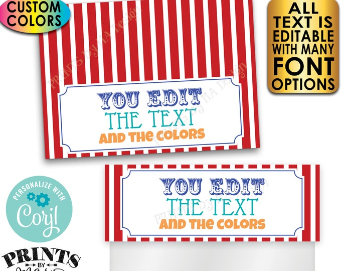"Carnival Goodie Bag Toppers, Any Text/Colors, Birthday Party Favor, Custom PRINTABLE 5x7"" Labels for Plastic Bags <Edit Yourself with Corjl>"