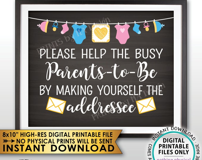 """Address an Envelope Baby Shower Help the Parents-to-Be Address Envelope, Gender Neutral Clothesline, Chalkboard Style PRINTABLE 8x10"""" <ID>"""