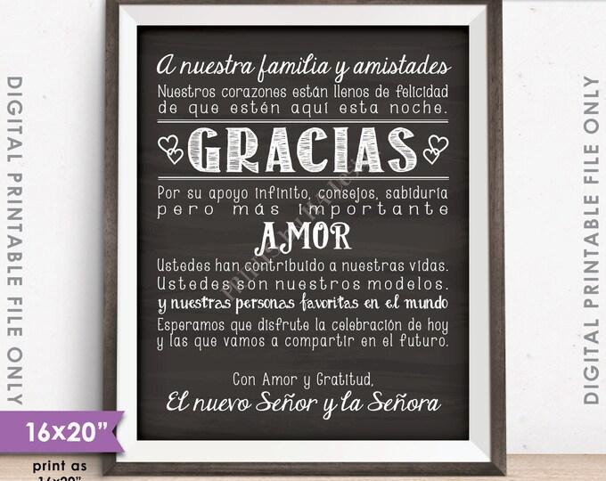Wedding Thank You Sign in SPANISH, El casarse le agradece ESPAÑOL, Gracias Cartel, Gracias Amigos, Instant Download Digital Printable File