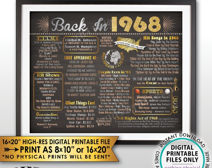 """Back in 1968 Flashback Poster Flashback to 1968 History Birthday Anniversary Reunion, PRINTABLE Landscape 16x20"""" Sign <ID>"""