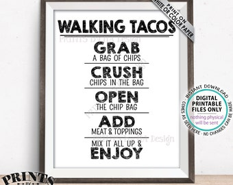 "Walking Tacos Sign, Taco Bar Fiesta, Cinco de Mayo Celebration, Wedding Tacos, PRINTABLE 8x10/16x20"" Tacos Sign <ID>"