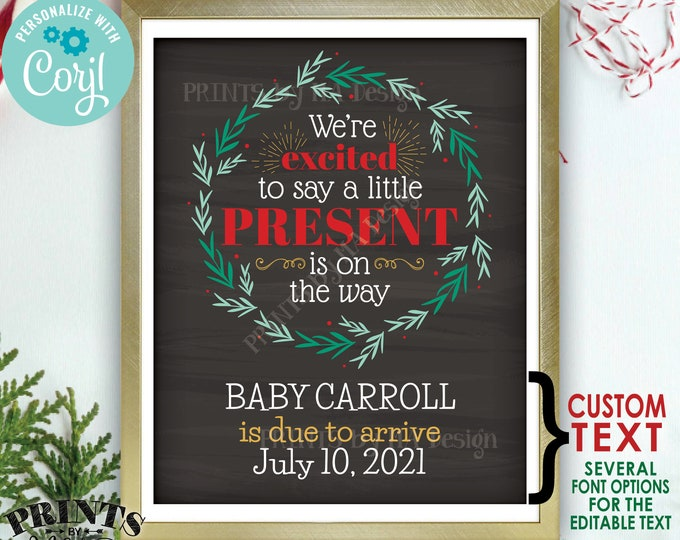 "Christmas Pregnancy Announcement, Little Present on the Way, Xmas Wreath, PRINTABLE 8x10/16x20"" Baby Reveal Sign <Edit Yourself with Corjl>"