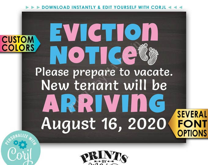 """Eviction Notice Pregnancy Announcement, Prepare to Vacate for Baby Number 2, PRINTABLE 8x10/16x20"""" Baby #2 Sign <Edit Yourself with Corjl>"""