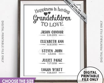 Grandchildren Sign Personalized Grandkids' Names Sign, Custom Gift for Grandparents Gift, Grandma, Grandpa, Custom PRINTABLE Digital File