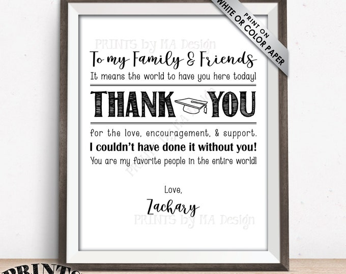 """Graduation Thank You Sign, Graduation Party Decoration, Custom Name PRINTABLE 8x10/16x20"""" Sign, Thanks from the Graduate Poster"""