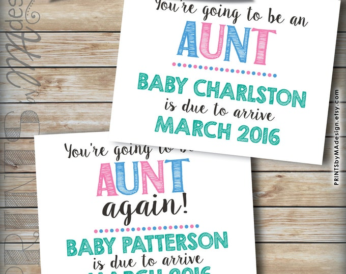 """Aunt Announcement, Announce to Aunt Pregnancy Announcement, Going to be an Aunt Again, Expecting a Neice Nephew, 8.5x11"""" Printable Sign"""