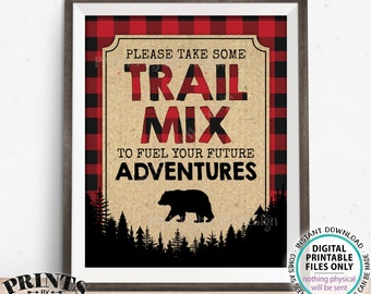 "Lumberjack Trail Mix Sign, Please take some Trail Mix to fuel your Future Adventures, PRINTABLE 8x10"" Red Checker Buffalo Plaid Sign <ID>"
