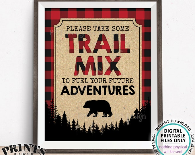 """Lumberjack Trail Mix Sign, Please take some Trail Mix to fuel your Future Adventures, PRINTABLE 8x10"""" Red Checker Buffalo Plaid Sign <ID>"""