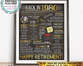"Retirement Party Decorations, Back in 1980 Poster, Flashback to 1980 Retirement Party Decor, PRINTABLE 16x20"" Sign <ID>"