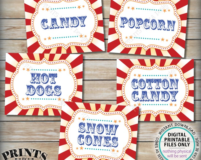 "Carnival Food Signs, Popcorn, Cotton Candy, Hot Dogs, Candy, Snow Cones, Circus Party, PRINTABLE 8x10/16x20"" Carnival Theme Food Signs <ID>"