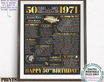 """50th Birthday Poster Board, Born in the Year 1971 Flashback 50 Years Ago B-day Gift, PRINTABLE 16x20"""" Back in 1971 Sign <ID>"""