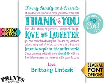 "Sweet 16 Thank You Sign, Sweet Sixteen Birthday Party, PRINTABLE 8x10/16x20"" 16th Bday Sign <Edit Yourself with Corjl>"