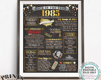 """Back in the Year 1985 Poster Board, Remember 1985 Sign, Flashback to 1985 USA History from 1985, PRINTABLE 16x20"""" Sign <ID>"""