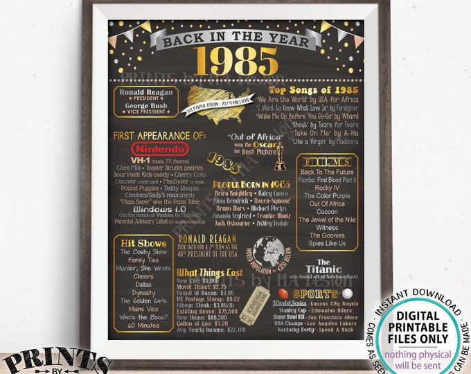 "Back in the Year 1985 Poster Board, Remember 1985 Sign, Flashback to 1985 USA History from 1985, PRINTABLE 16x20"" Sign <ID>"
