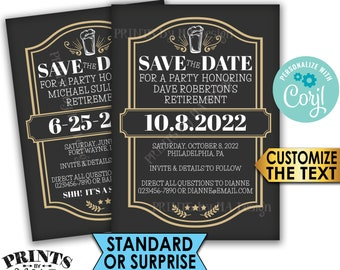 """Cheers and Beers Retirement Party Save the Date, Beer Themed Celebration, PRINTABLE 5x7"""" Save the Date, Gold <Edit Yourself with Corjl>"""