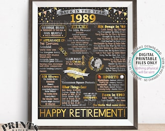 "Back in 1989 Retirement Party Sign, Flashback to 1989 Poster Board, PRINTABLE 16x20"" Retirement Party Decoration <ID>"