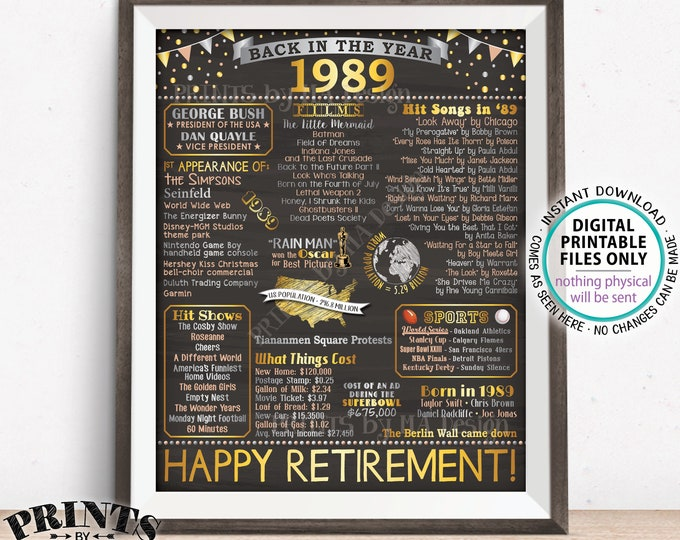 """Back in 1989 Retirement Party Sign, Flashback to 1989 Poster Board, PRINTABLE 16x20"""" Retirement Party Decoration <ID>"""
