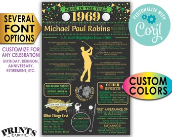 "Golf Themed Birthday Gift, Golf Facts from Back in 1969 Flashback of Golf History, Custom PRINTABLE 24x36"" Sign <Edit Yourself with Corjl>"