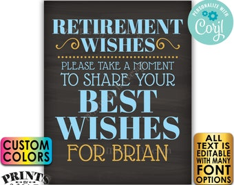 "Retirement Party Sign, Please Leave Your Best Wishes for the Retiree, PRINTABLE 8x10/16x20"" Chalkboard Style Sign <Edit Yourself with Corjl>"
