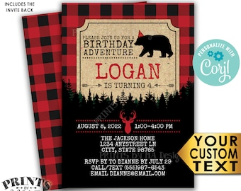 """Lumberjack Birthday Invitation, Join Us for a B-day Adventure, PRINTABLE 5x7"""" Red & Black Checker Invite <Edit Yourself with Corjl>"""